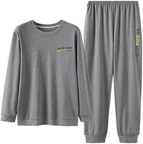 メンズパジャマ 長袖コットンパジャマユースレジャーはパジャマラウンドネックホームサービススーツメンズパジャマセット以外の着用することができます。 上下 セット 春 秋 (Color : Photo color, Size : XXL)