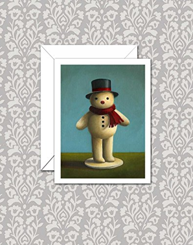 Snowman Christmas Cards - Retro Snowman Note Cards - Vintage Snowman Notecards - Holiday Card Set - Xmas Felt Snowman