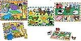Melissa and Doug Chunky Puzzle Bundle Set / 1 - Safari Animals 1 - Pets and 1 - Farm Animals