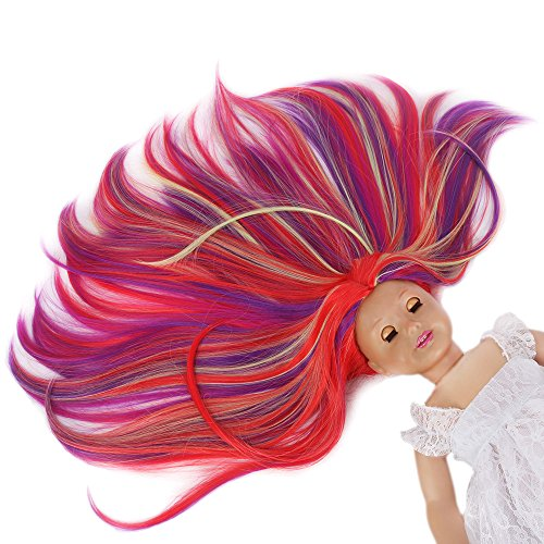 STfantasy American Girl Doll Wig Ombre Highlights Multicolor Long Straight Hair for AG Doll Bald (Halloween Doll Wig)