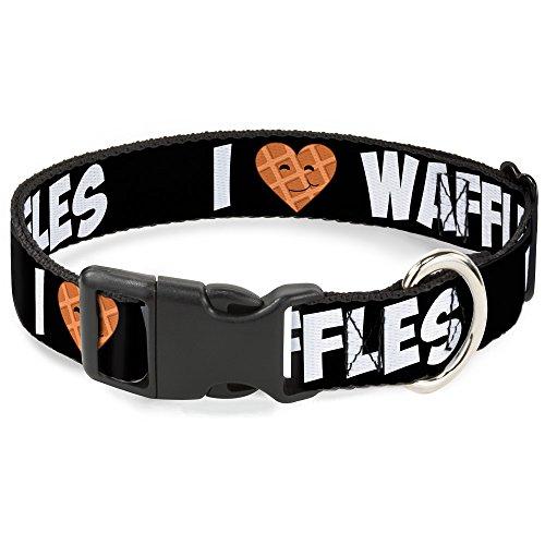 - Buckle-Down Plastic Clip Collar - I Heart Waffles Text - 1