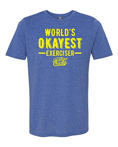 Tango Charlie Apparel - Men's World's Okayest Exerciser Crossfit T-Shirt - Funny Graphic Workout Tee for Men, Blue - Medium