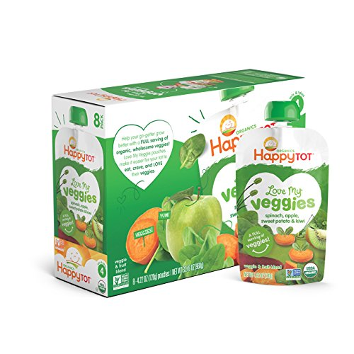 Price comparison product image Happy Tot Organic Stage 4 Baby Food, Love My Veggies, Spinach, Apple, Sweet Potato & Kiwi, 4.22 Ounce (Pack of 16)