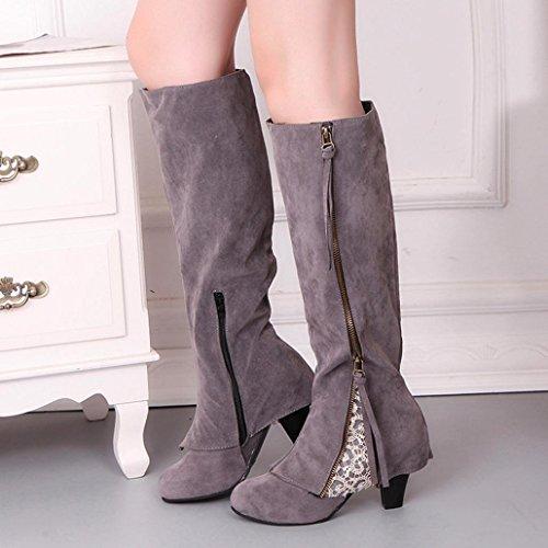 High Transer® Winter Heels Boots Women Zip Shoes Lace Ladies Martin Boots Grey Elegant tf1Rfqg