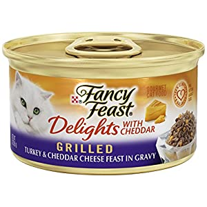 Purina Fancy Feast Gravy Wet Cat Food; Delights Grilled Turkey & Cheddar Cheese Feast in Gravy - 3 oz. Can, Pack of 24 116