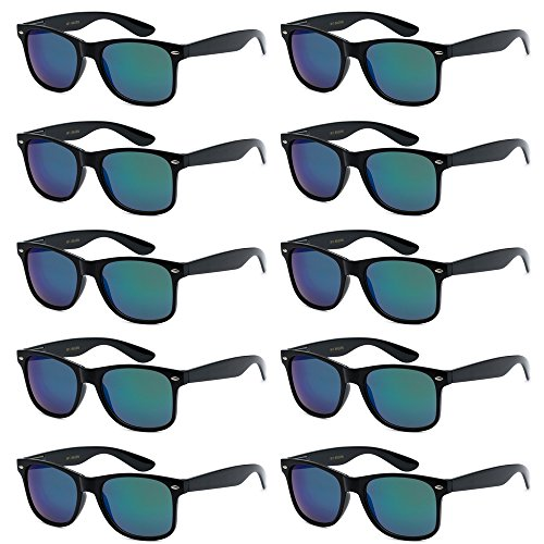 WHOLESALE UNISEX 80'S RETRO STYLE BULK LOT PROMOTIONAL SUNGLASSES - 10 PACK (Glass Black / Kryptonite Green Mirror, 52 mm) -