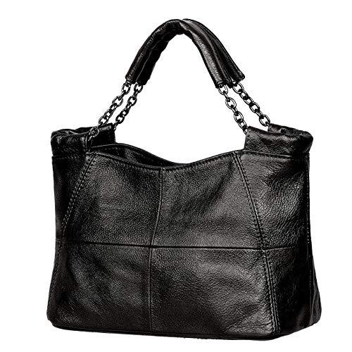 Jack&Chris Splicing Satchel Crossbody Bags for Women Leather Top Handle Handbags, WB503 (Black) …