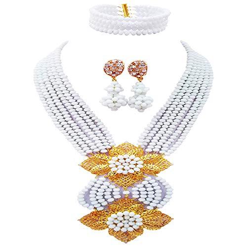 aczuv Fashion African Bead Necklace Nigerian Beads Wedding Jewelry Sets for Women (White)