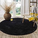 LOCHAS Round Area Rugs Super Soft Living Room Bedroom Home Shaggy Carpet 4-Feet (Black)