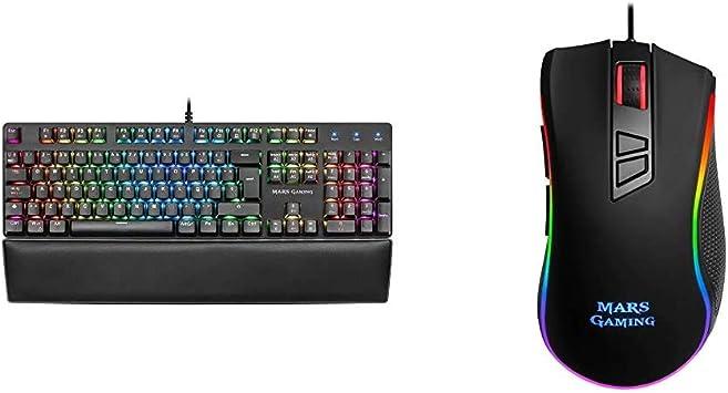 Mars Gaming MK5, Teclado mecánico Switch Azul, RGB 16.8, Software, reposamuñecas + MM218, Ratón para Pc (10000 dpi, Sensor Óptico Profesional, ...