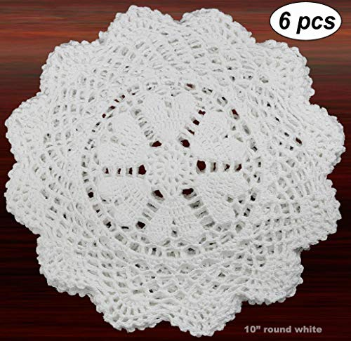 Creative Linens 6PCS 10 Inch Round Handmade Cotton Crochet Lace Doilies with Hearts White, Set of 6 Pieces For Valentine's Day, Mother's Day, Wedding - White Doily Crochet