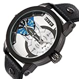 OOFAY Men's Timepiece Big Dial Black Leather Band Dual Time Zones Casual Wrist Watches