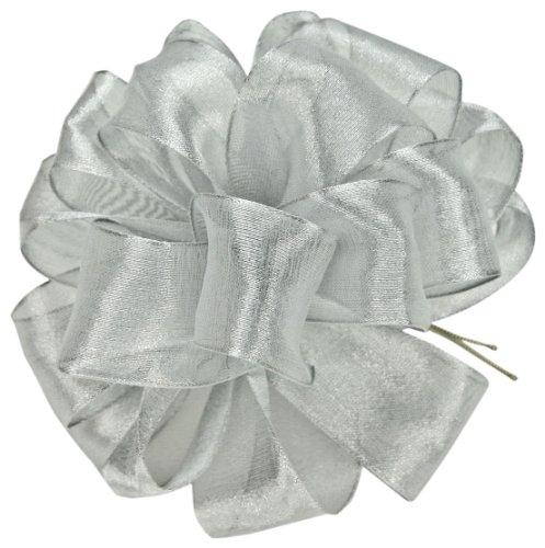 Offray Wired Edge Magic Wand Metallic Sheer Craft Ribbon, 7/8-Inch Wide by 50-Yard Spool, Silver (Magic Fabric Sheer)