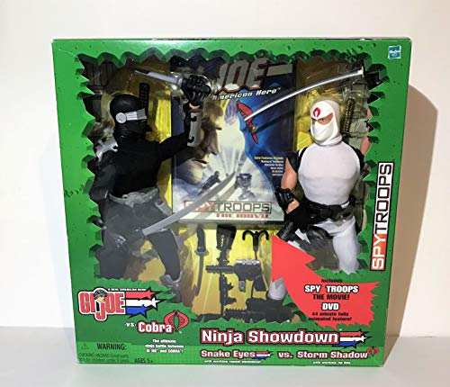 G.I. Joe 2003 Ninja Showdown SPY TROOPS The Movie Series 12 Inch Tall Action Figure Set - Snake Eyes with Working Rappel Equipment Versus Storm Shadow with Working Zip Line Plus 44 Minute Fully Animated DVD and Lots of Weapon Accessories ()