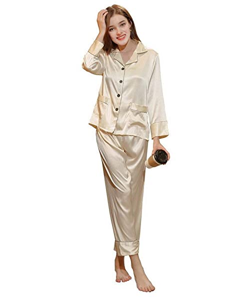 Mujer Camisones Primavera Otoño Satín Batas Tops Pantalon 2 Pedazos Basic Elegantes Moda Classic Simplemente Pijama Manga Larga V-Cuello Un Solo Pecho ...