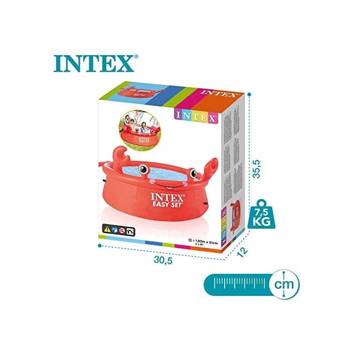 51kckTpCKPL Piscina hinchable infantil INTEX gama Easy Set, formato redondo Medidas: 183x51 cm, capacidad para 880 litros Diseño: cangrejo con ojos y extremidades en relieve hinchable