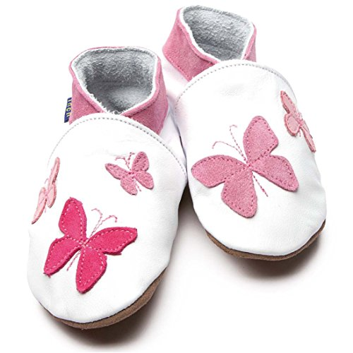 Inch Blue Caleidoscopio 1443 – suave zapatos de bebé, color blanco/rosa, color blanco, talla Niño XL 5-6 Años 20 cm