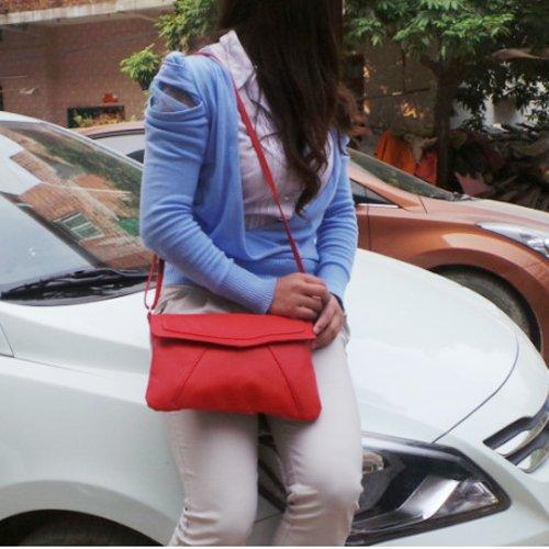 SODIAL(R) Borsa busta delle nuove donne di modo del cuoio del messaggero borse borsa spalla Crossbody Croce body bags delle borse cartelle Bolsas Rosso