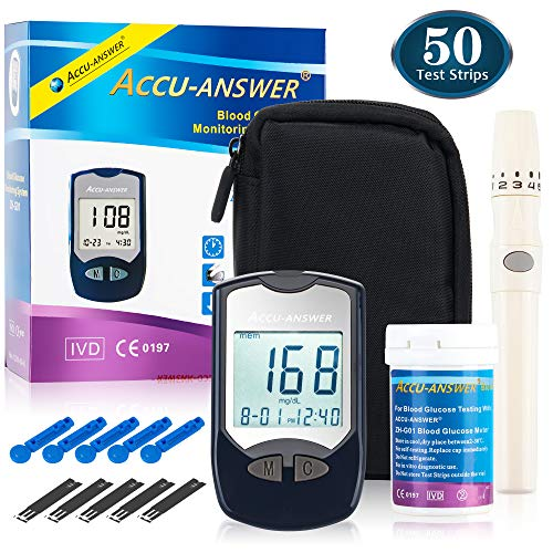 AccuAnswer Diabetic Monitoring Kit – Blood Glucometer Testing Kit – Home Diabetes Sugar Tester with Strips – Complete with Lancet Kit and a Manual