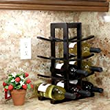 Cheap NEW Home Bar Furniture Bamboo Dark Espresso Wooden Wine Rack 12 Bottles Capacity