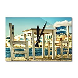 Lantern Press Wooden Table and Chairs on Beach (Acrylic Wall Clock)