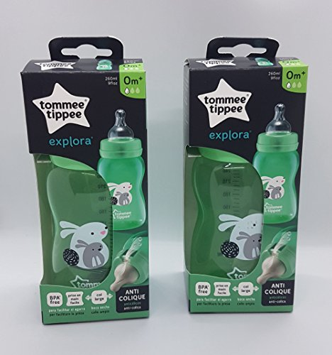 2 x 260ml Feeding Bottles from Tommee Tippee Age 0m+ Bpa Free (Green Rabbit)