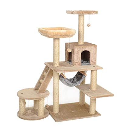 YD Pet Nest - Cat Nest Large Cat Tree Kitten Scratching After Climbing Tower Pet Software Game House Platform Activity Center Cat Grab Furniture/Natural /@