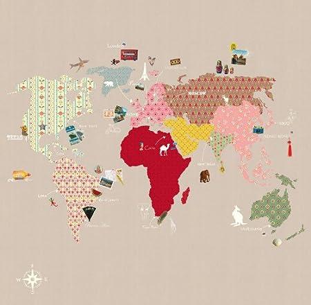 P120202 6 Vlies Tapete Kinder Weltkarte Bunt Beige Whole Wide World