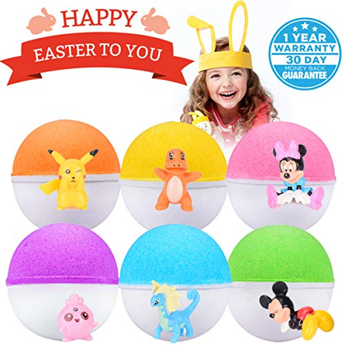 Bath Bombs For Kids Surprise Toy Inside 6 Fun Colorful Fizzy Bath Bombs Kids Bath Bombs Set Gender Neutral Boys & Girls Best Easter Gifting Idea for Kiddo(Spring Promotion Week) -