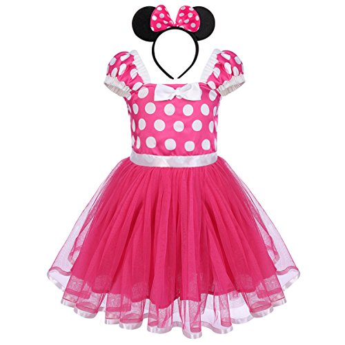IBTOM CASTLE Toddlers Girls' Polka Dots Christmas Birthday Princess Leotard Costume Tutu Dress Up Mouse Ears Headband Rose+3D Ears 4-5 Years -