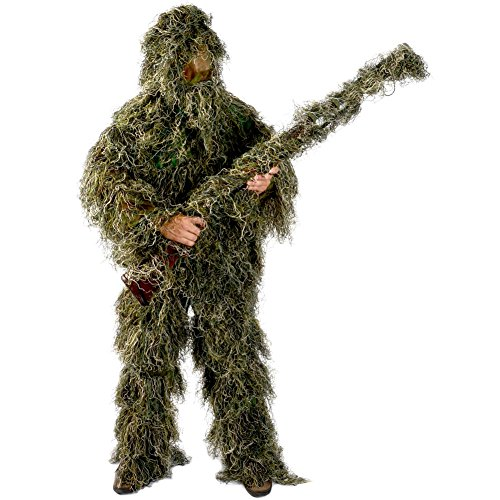 Ghillie Suit Men's 5 Piece Supreme Woodland Camo Ghillie X-Large / 2X Green]()