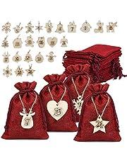 Naler 24 x jute zakjes met cijfers houten labels jute zak donkerrood voor adventskalender Stoffen zakken zakjes cadeauzakjes - 10 x 14 cm