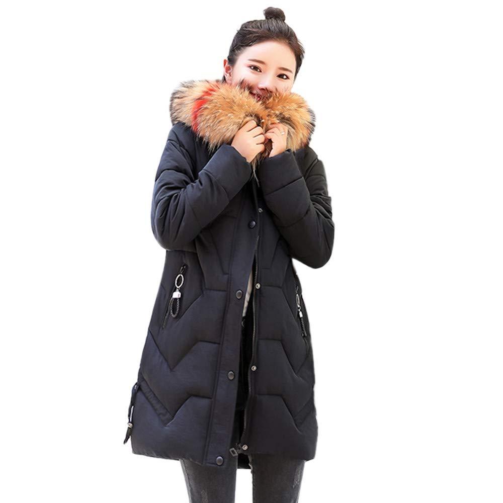 Fashionhe Down Jacket Hooded Outwear Warm Coat Long Thicker Overcoat Fur Collar Cotton Parka Slim Jacket (Black.XL) by Fashionhe