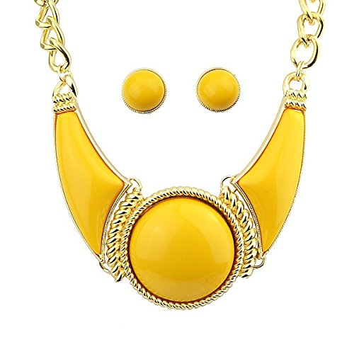 XJG Indian Jewelry Created Gemstone Boho Chic Jewelry Sets of Necklace and Earrings For Women (Color Yellow)