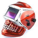 Neiko 53932A Auto-Darkening TIG/MIG Welding Helmet Solar and Battery Powered with Red Skeleton Design