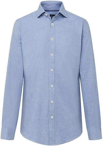 Camisa Hackett Plain Flannel Melange Azul M 513SKY: Amazon.es ...