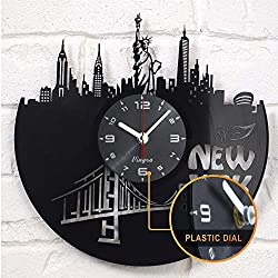 New York Vinyl Clock - New York Wall Decor - New York Gift Art Decor for Living Room Statue of Liberty Modern Art Gift for Men Women Birthday Record Clock New York City Home Decor Unique Design Black
