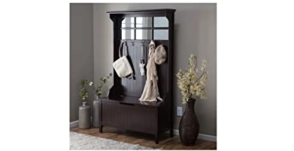 Hall Tree With Storage Bench Espresso Solid Wood Frame 5 Double Hooks Shoe  Storage Organizer Jacket