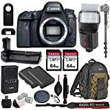 Canon EOS 6D Mark II Wi-Fi DSLR Camera Body - with Pro Battery Grip, TTL Flash, Canon Pro Backpack,128GB Memory, LP-E6N Replacement Battery, 72 Monopod, RC-6 Wireless Remote, and more.. (19 Items)