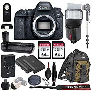 Canon EOS 6D Mark II Wi-Fi DSLR Camera Body - with Pro Battery Grip, TTL Flash, Canon Pro Backpack,128GB Memory, LP-E6N Replacement Battery, 72
