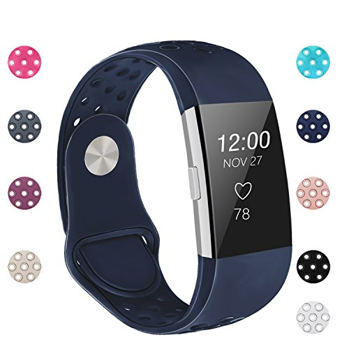 Blue Wristband (POY Replacement Bands Compatible for Fitbit Charge 2, Adjustable Breathable Wristbands with Air Holes Straps, Large Blue)