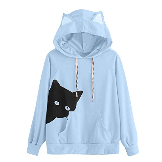 fa679e5cc6a SUJING Womens Fashion Pocket Ear Hoodie Sweatshirt Jumper Pullover Tops  Blouse S-XL at Amazon Women s Clothing store