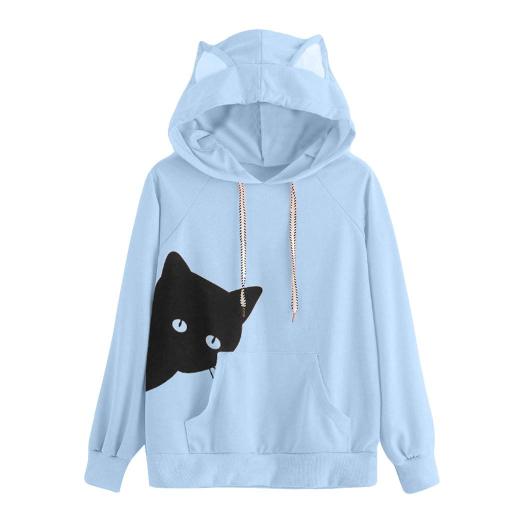 Womens Casual Hoodie,KIKOY Girls Long Sleeve Cute Cat Print Sweatshirt Pullover