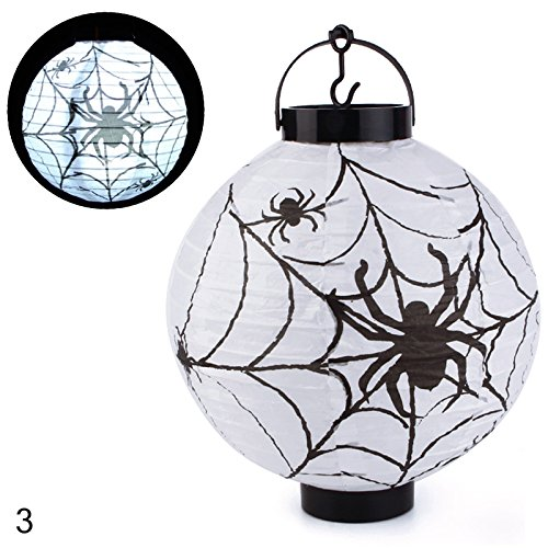 Eachbid Retro Halloween Festival Party Decor LED Pumpkin Spider DIY Paper Lantern Lamp (Diy Halloween Lanterns)