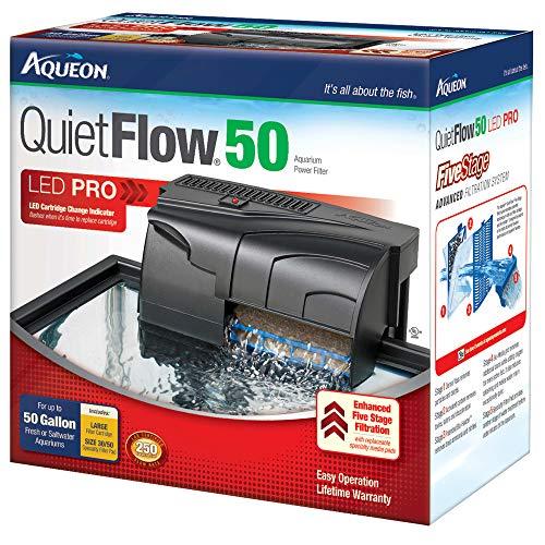 Aqueon QuietFlow LED PRO Aquarium Power Filter 50 for up to 50 Gallon Aquariums