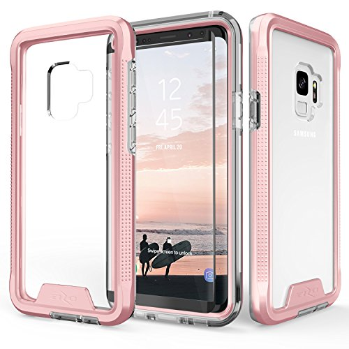 Zizo ION Series Compatible with Samsung Galaxy S9 Case Military Grade Drop Tested with Tempered Glass Screen Protector Rose Gold Clear