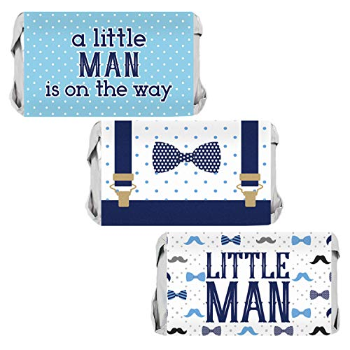 Little Man Baby Shower Mini Candy Wrappers | 54 Stickers ()