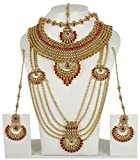MUCHMORE Traditional Indian Style Golden Plated Polki Indian Necklace Earrings Bridal Set Jewelry