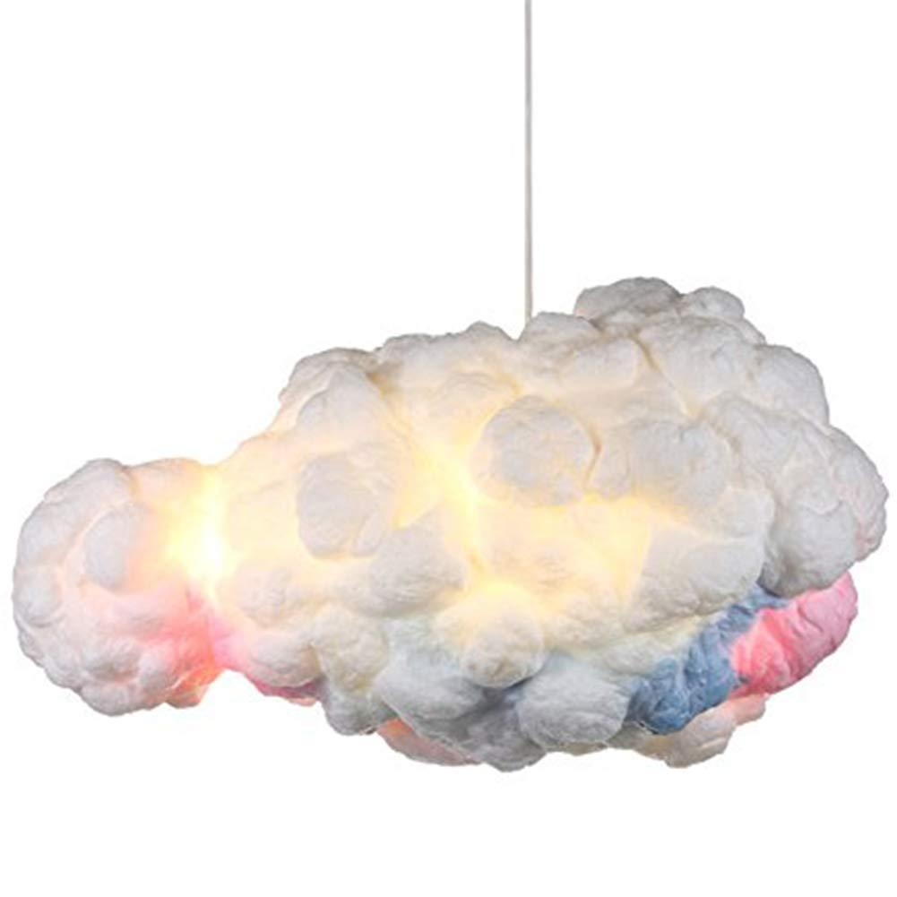 IJ INJUICY Modern Floating White Cloud Pendant Hanging Light Nordic Cotton Ceiling Light Fixture Girls Children's Living Room Bedroom Hotel Lobby Restaurant Clothing Store Chandelier (Dia. 19.7 inch)