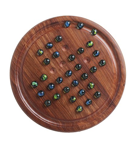 storeindya Wooden Solitaire Board Game with Marbles Color Glass Balls for Family Kids (Light Brown) Game Box Solitaire